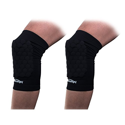 COOLOMG Pair Kids Adult Crashproof Antislip Knee Brace Knee Pad Sleeve Short Leg Support Protective Gear For Basketball Soccer Black XS