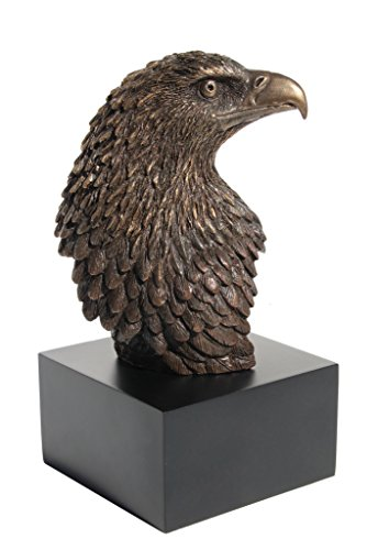 7.13 Inch Eagle Head on Plinth Cold Cast Bronze Sculpture Figurine