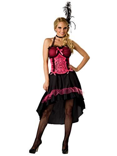 InCharacter Costumes Women's Saloon Gal 2B Adult Costume, Black/Pink, Medium -