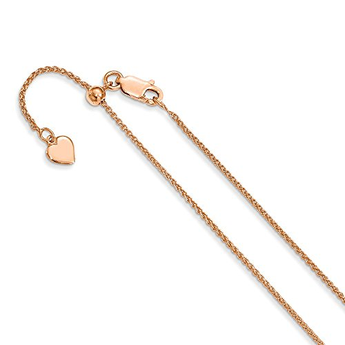 925 Sterling Silver 1.3 Mm Rose Gold Plated Adjustable Link Wheat Chain Necklace 22 Inch Pendant Charm Spiga Fine Jewelry Gifts For Women For Her
