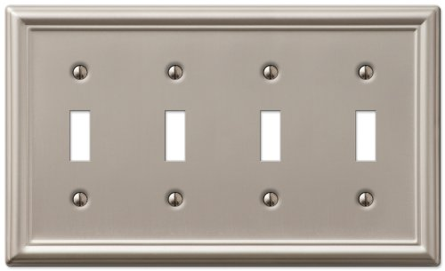 Quad Switch Wall Plate - AmerTac 149T4BN Chelsea Steel Quad Toggle Wallplate, Brushed Nickel