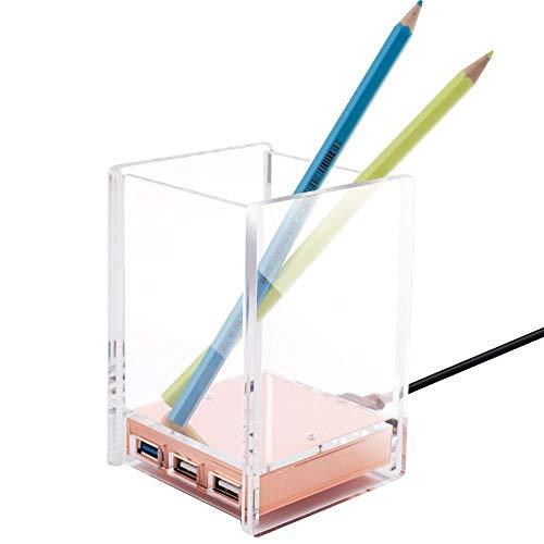 - 636643 2 Packs Zodaca Acrylic Pen Holder Pencil Ruler Stationery Holder hub Office Desktop Organizer for Desk w/USB Hub - Clear/Rose Gold