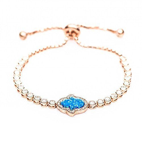 Hamsa Blue Opal Bracelet by Alef Bet Jewelry in Rose Gold With Glamourous Stones for Added Protection