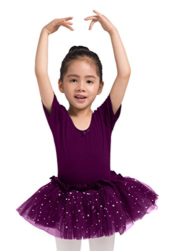 Dancina Girls Skirted Leotard Sparkle Short Sleeve Tutu Ballet Dress Dark Purple 2-3T