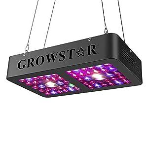 Cree COB LED Grow Light, Growstar Reflector Series 600W LED Plant Light Full Spectrum Dual Chip Grow Lamp with Daisy…