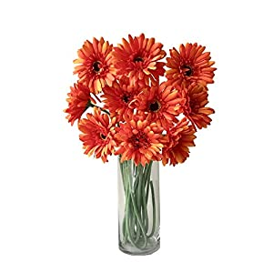 Rae's Garden Artificial Flowers Realistic Fake Flowers Gerbera Daisy Bridal Wedding Bouquet for Home Garden Wedding Party Decorations 10 Pcs (Orange) 31