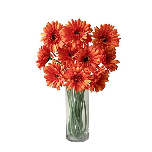 Rae's Garden Artificial Flowers Realistic Fake Flowers Gerbera Daisy Bridal Wedding Bouquet for Home Garden Wedding Party Decorations 10 Pcs (Orange)]()