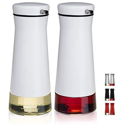 CHEFVANTAGE Olive Oil and Vinegar Cruet Dispenser Set with Elegant Glass Bottle and Drip Free Design - ()