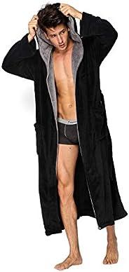 Hooded Herringbone Men's Black Soft Spa Full Length Warm Bathrobe with Grey Kimono Shawl Co