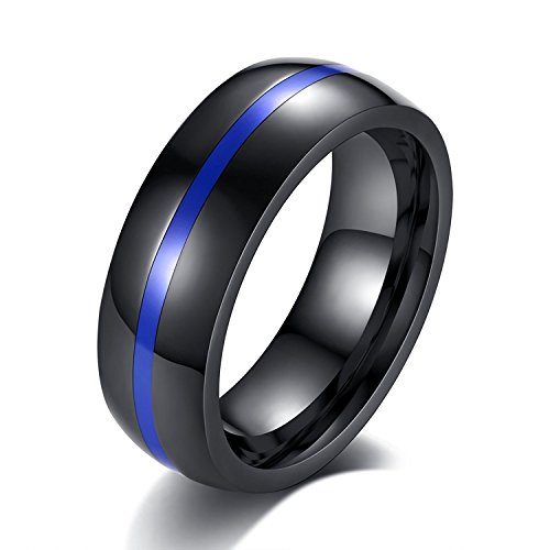 LIANTSH Black Stainless Steel Thin Middle Line Centre Polished Finish Wedding Band Ring for Men/Women-8mm-With Free Gift Box 8 Mm Line Finish