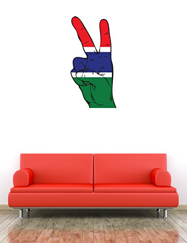 Gambia flag hand peace sign art wall vinyl sticker home decor 38 x 63 cm