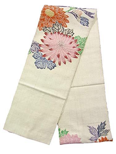 リンケージ名前分析的なリサイクル 名古屋帯 紬 八寸 菊の花模様 正絹
