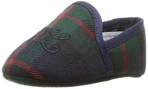 ds Baby ASH Slipper II Wool Plaid Navy Satin, M030 M US Infant ()