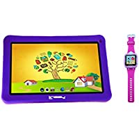LINSAY NEW F7KPWP 7 Kids Tablet Purple Bundle With 1.5 Smart Watch Kids Cam Selfie Pink up to 32GB