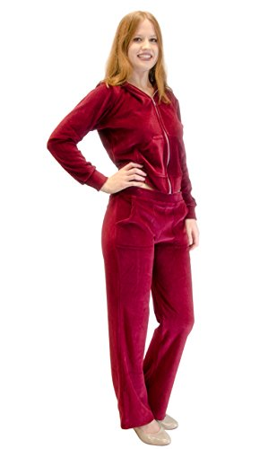 Velour Hoodie Sweat Suit Jacket and Pants Set (Burgundy, 1X)