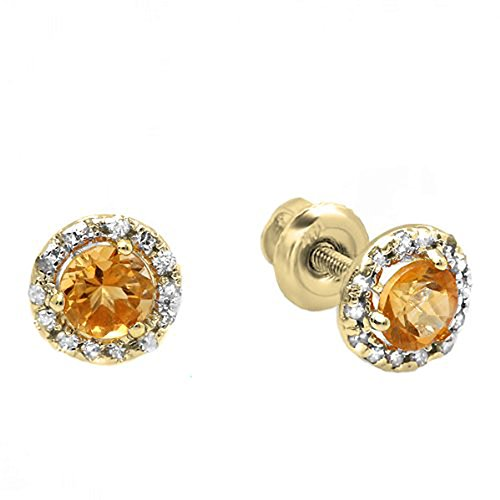 Dazzlingrock Collection 14K Round Deep Yellow Citrine & Diamond Halo Stud Earrings, Yellow Gold