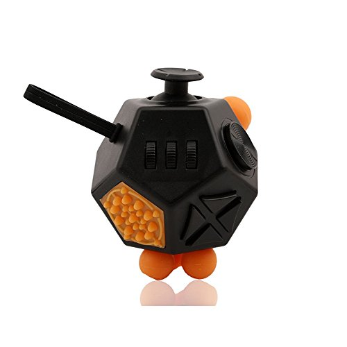 Fidget Cube 2 Anti Stress Cube Toy 12 Sides for Children and Adults-Black