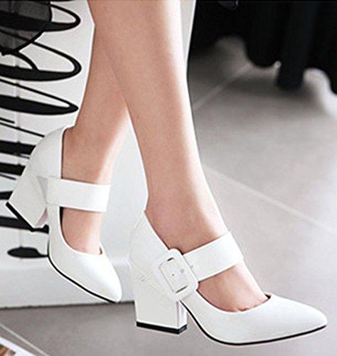 Idifu Womens Sweet Buckle Strap Toe Toe Chunky High Heels Pumps Shoes Bianco
