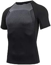 AMZSPORT Heren Sport Compressie Shirt Korte Mouw Sneldrogende Hardlopen