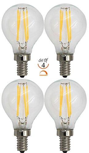 G16.5 Led (SleekLighting 4 Watt G16.5 E12 LED Filament Globe Light Bulb,Dimmble (35W Incandescent Replacement) Warm White 2700K - 4 pack)