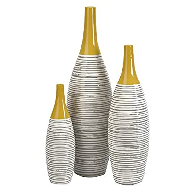 Andean Multi Glaze Vases - 12H in. - Set of 3 - 100% ceramic construction Topped with a bold yellow glaze for an attractive look Hand-painted neutral stripes adds a touch of elegance - vases, kitchen-dining-room-decor, kitchen-dining-room - 41Vb3D0tKNL. SS400  -