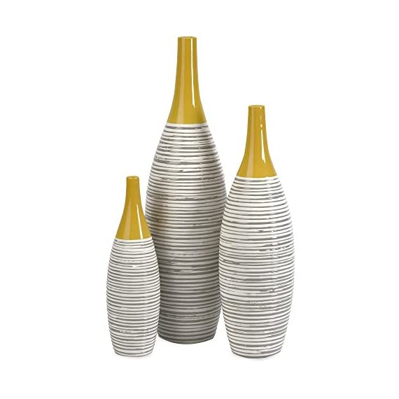 Imax Andean Multi Glaze Vases - 12H in. - Set of 3 - 100% ceramic construction Topped with a bold yellow glaze for an attractive look Hand-painted neutral stripes adds a touch of elegance - vases, kitchen-dining-room-decor, kitchen-dining-room - 41Vb3D0tKNL. SS570  -