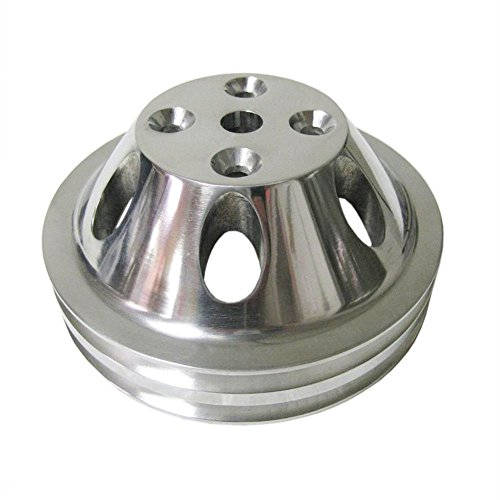 Pulley Set For Chevy SBC LWP Double/Triple Groove Polished Aluminum by DEMOTOR (Image #4)