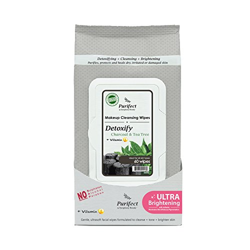 Symphony Beauty Makeup Cleansing Wipes, Detoxify, Charcoal and Tea Tree, 60 Wipes