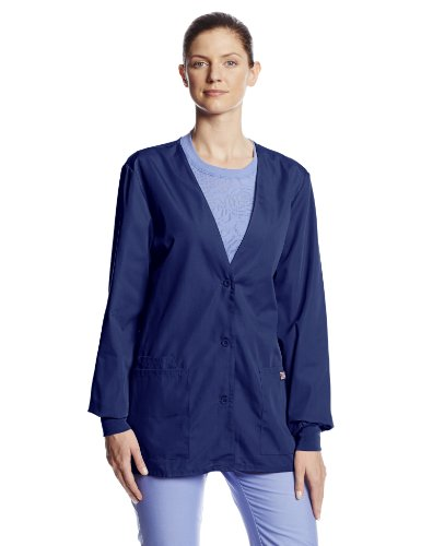 Cherokee Women's Workwear Scrubs Cardigan Warm-up Jacket, Navy, XXXX-Large