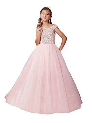Yang New Flower Girl's Sequins Pink Ball Gowns Kids National Pageant Dresses 14 by Yang