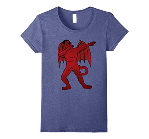 Womens Dabbing Devil T-Shirt - Dab Dance Satan Halloween Costume Small Heather Blue