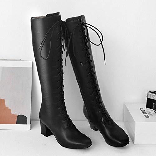 Boots Women Black Heel Coolcept Block Zipper Boots Knee W1ngw4xwq