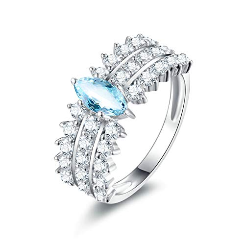 EoCot Custom Size Silver Plated Ring for Women Marquise Blue Topaz White Gold Leaf Eternity Engagement Wedding Band Ring Size 10