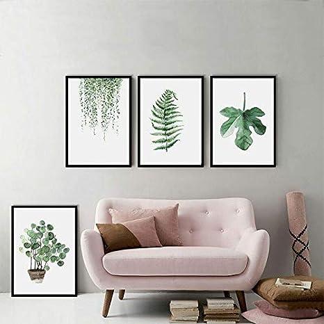 Cuadros de pared para la decoración del hogar Estilo nórdico Hojas verdes Planta Pintura al óleo Arte de la pared Impresión de la lona Poster