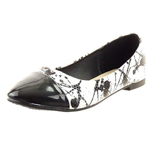 Sopily - Zapatillas de Moda Bailarinas Tobillo mujer piel de serpiente camuflaje patentes Talón Tacón ancho 1 CM - plantilla sintético - Negro