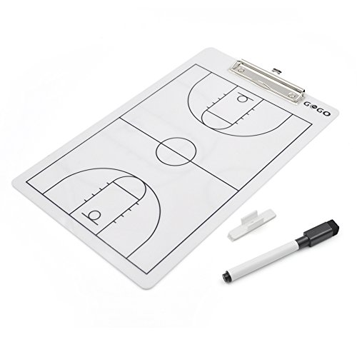 GOGO Double Sided Coaching Board, Easy-wiped Erasable Coach Clipboard, 14