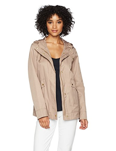 Cole Haan Women's A- A-line Jacket with Attached Hood, Dune, Medium ()