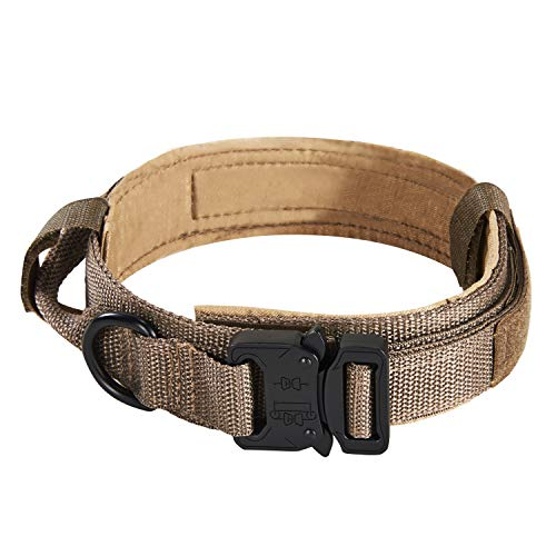 Pettom Tactical Dog Adjustable Collar Military Training Molle Nylon Dog Collar Leash with Handle Steel Buckle 1.5'' (L, Brown) (Collar Nylon Puppy Dog)