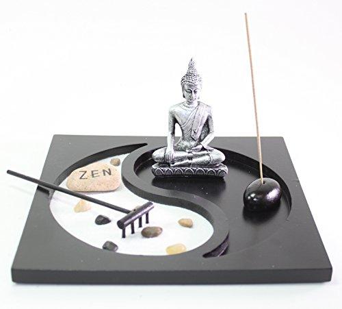 Quemador de incienso con jardín de arena para sobremesa de Taiji Yin Yang Buda Zen, regalos y decoración para el hogar...