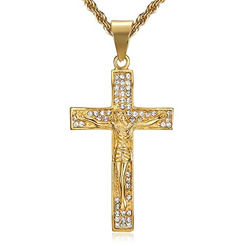 Lee Island Fashion Gold Cross Necklace for Men Women, 24K Gold Plated Simulated Diamond CZ Fully Crucifix Cross Catholic Jesus Christ Pendant Stainless Steel Necklace,20,24 Inch Chain Jewelry