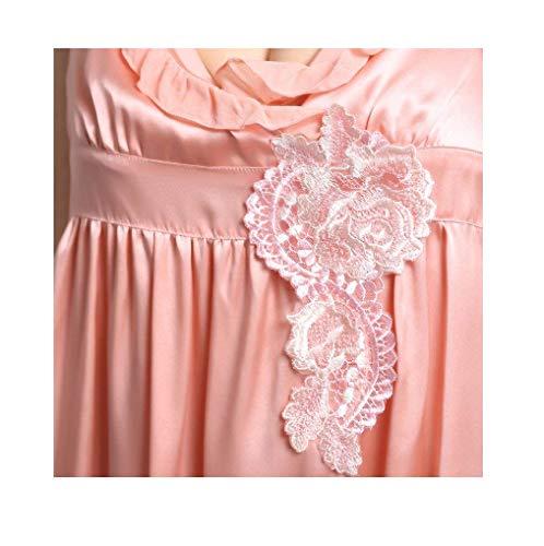 V Corto Rosa Abito Da Estivi Smanicato Vestito Fiori Nightdress Ricamo Abbigliamento Casuale Moda Donna Pigiami Irregular Vintage Baggy Notte neck Elegante wqI17q