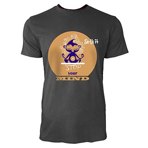 SINUS ART® Süßer Cartoon Affe in Yoga Sitz Herren T-Shirts in Smoke Fun Shirt mit tollen Aufdruck