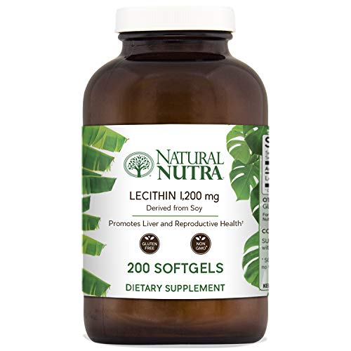 - Natural Nutra Soy Lecithin Dietary Supplement from Soybean Oil, Non GMO, High Potency, 1200 mg, 200 Softgels