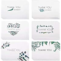 eZAKKA Thank You Cards 48 Assorted Thank You Blank Note Greeting Cards Watercolor Craft Green Leaves Bulk Thank U Card Set with Envelopes for Graduation, Business, Wedding, Baby Shower