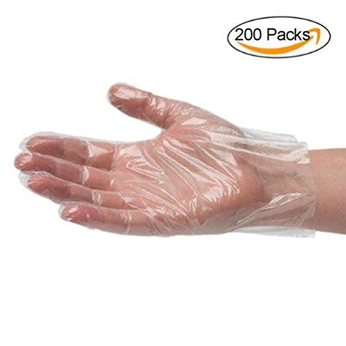 Glove Dye (Naovio 200 Pack Disposable Gloves Sanitary Gloves Dining Gloves PE Food Safe Gloves Powder & Sulfur Free)