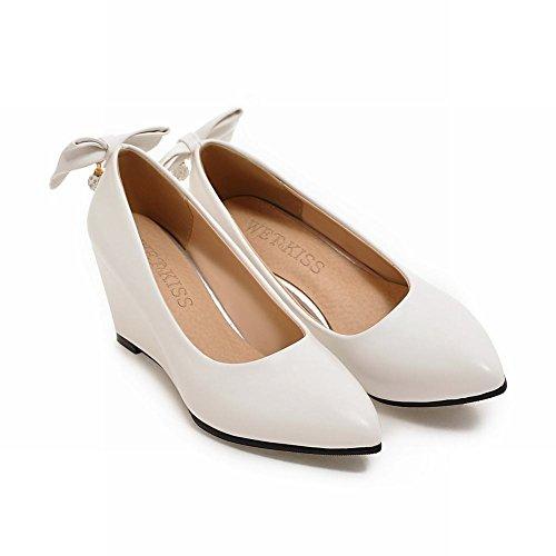 Mee Shoes Damen Keilabsatz mit Schleife Strass Pumps Weiß