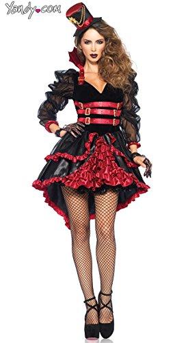 Leg Avenue Women's Victorian Vamp Steampunk Costume, Black/Burgundy, Medium -