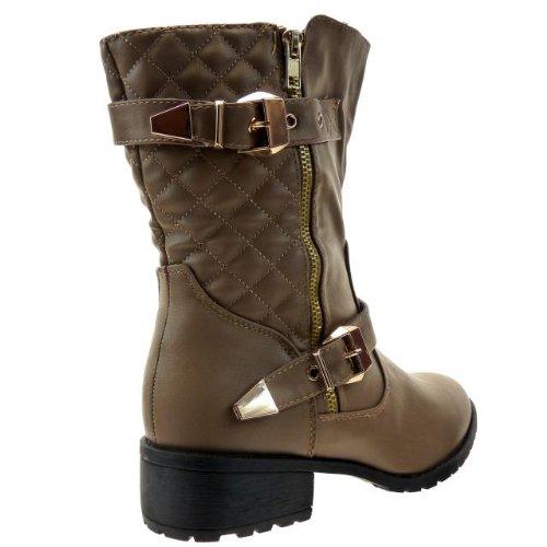 Kickly - Chaussure Mode Bottine Botte Mi-Mollet femmes cavalière matelassé - motarde Talon bloc 3.5 CM - Taupe/Or