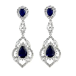Silver Tone With Blue Stone Chandelier Earring