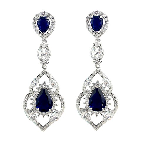 SELOVO Silver Tone Sapphire Color Navy Blue Cubic Zirconia Drop Earrings Jewelry Colored Sapphire Diamond Bracelet